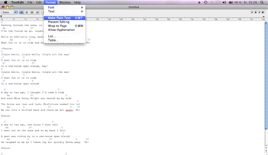 How to create a PGSongBook-compatible Text File